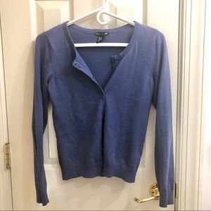 Periwinkle Blue Crop Long Sleeve Button Cardigan